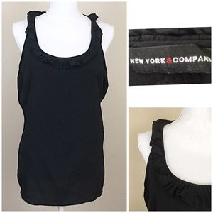 NY&Co black sleeveless blouse ruffle collar sz 12